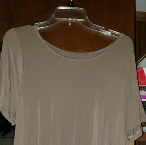 Taupe shark-bite tunic top